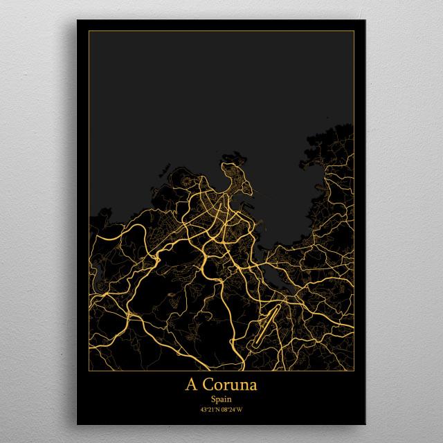 A Coruna Spain metal poster
