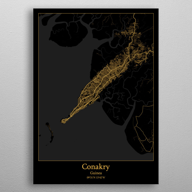Conakry Guinea metal poster