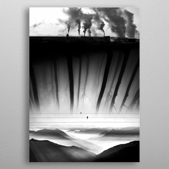 Bad Kingdom is Black And White environmental image inspired by the pollution Problem metal poster