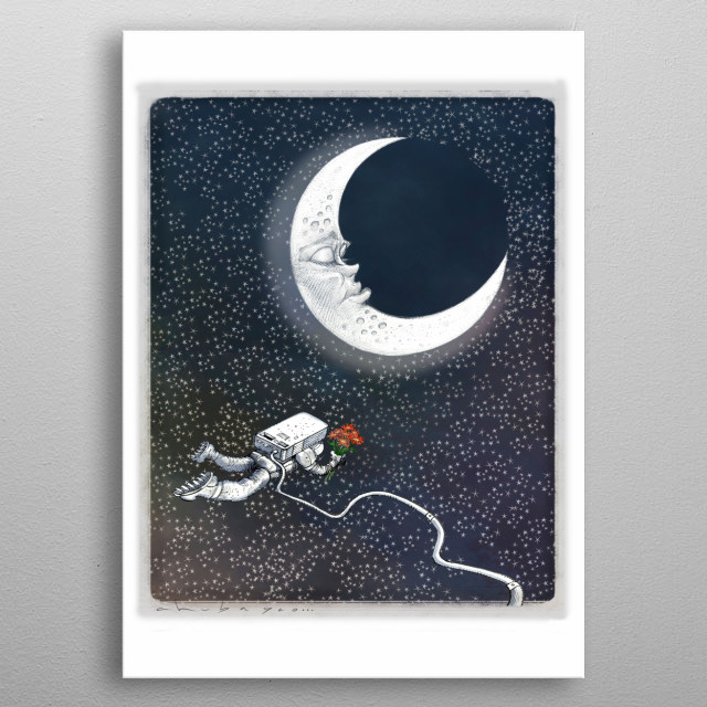 Every woman is unreachable like the moon, but it is always possible to touch her heart metal poster