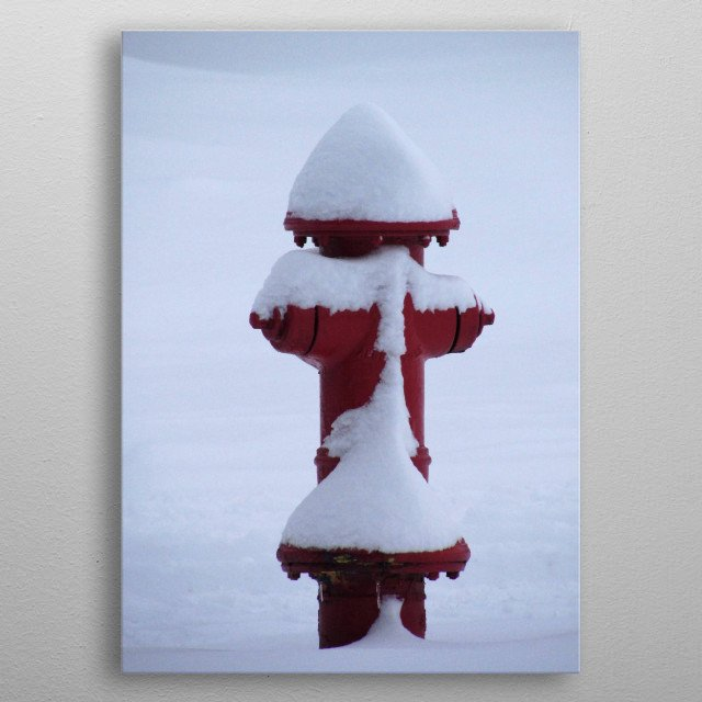 Snow covered fire hydrant metal poster
