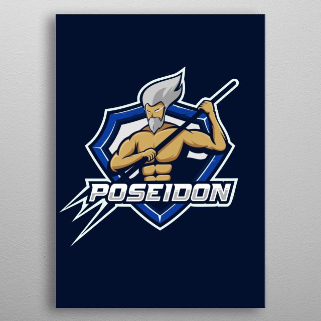 Illustration of poseidon metal poster