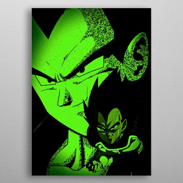 Comic type Dragon ball z art of Vegeta this is a classic look. metal poster