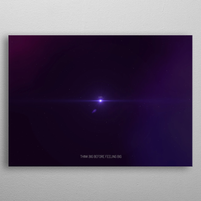 Digital art representing the earth emphasizing our tiny insignificant size in the entire universe. metal poster