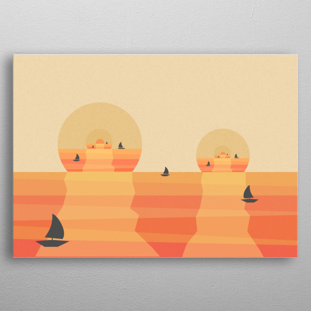 Sunset surrealistic illustration created with digital software, inspired by asian art and retro film posters. Perfect for your bedroom. metal poster