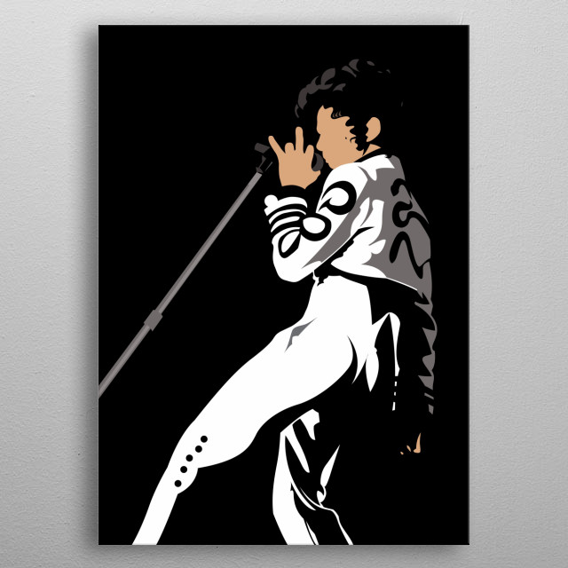 Purple man in black and white metal poster
