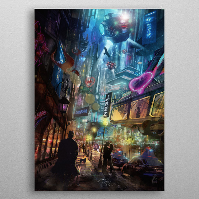 Science fiction city with a Blade Runner feel inspired by Frank Sinatra and film Noir. Romance, spaceships and detectives. metal poster