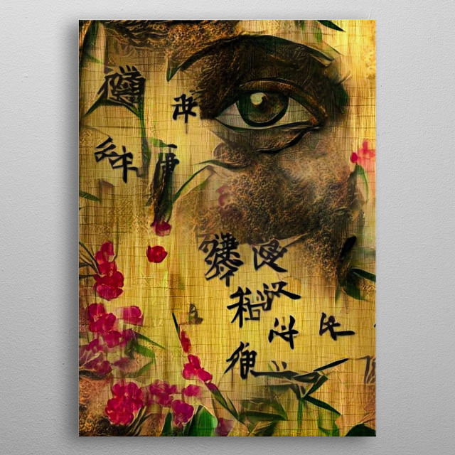 Woman's face on bamboo paper. Asian style metal poster