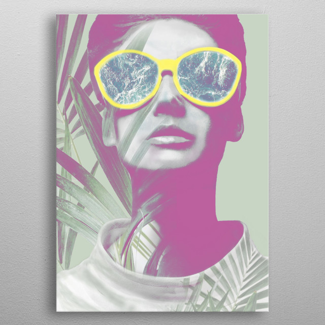 Watchin ocean behind the palm trees, mixedmedia art that presents summer vibes, vacation, ocean, palms and nature. metal poster