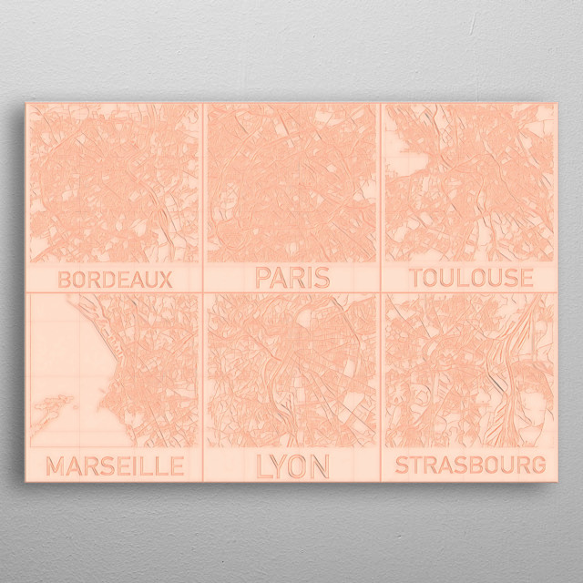 French Cities Blueprint Maps. metal poster