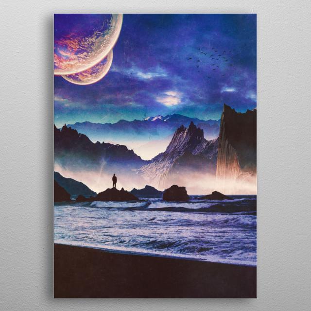 surreal digital landscape collage  metal poster