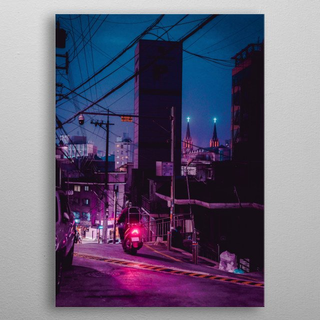 Neon crosses often fill the horizon of any city scape in Seoul, making one consider religion in a future world. metal poster