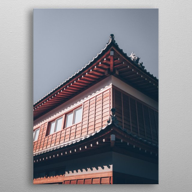 Photo of a wooden Japanese house  metal poster
