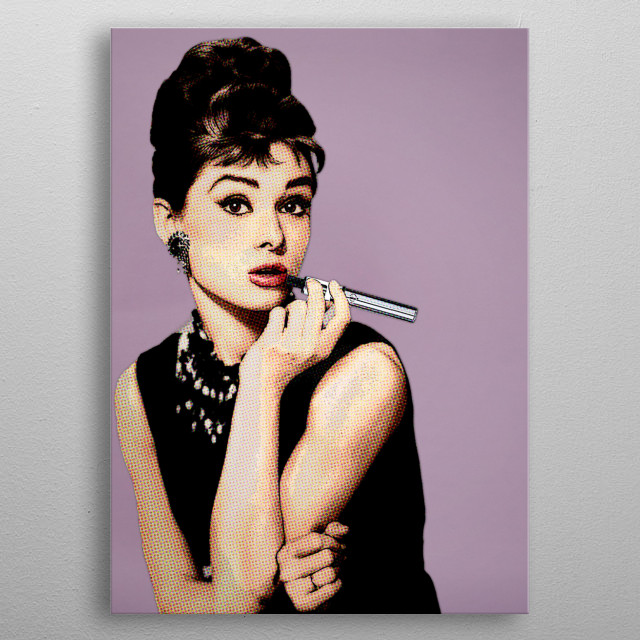 Digital remake of famous photograph of Audrey Hepburn with cigarette holder this time in pop art style with vaporizer. (pink background) metal poster