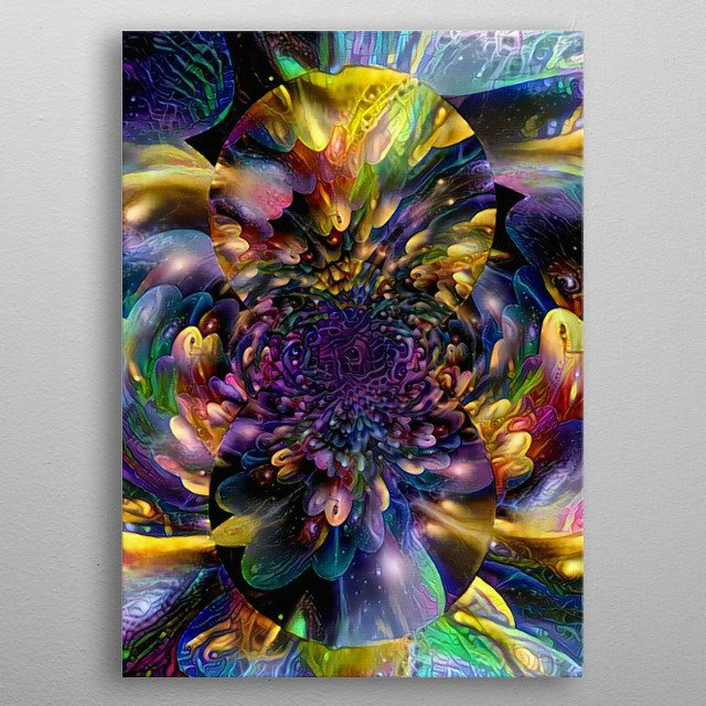 Abstract painting. Mirrored multicolored round fractal metal poster