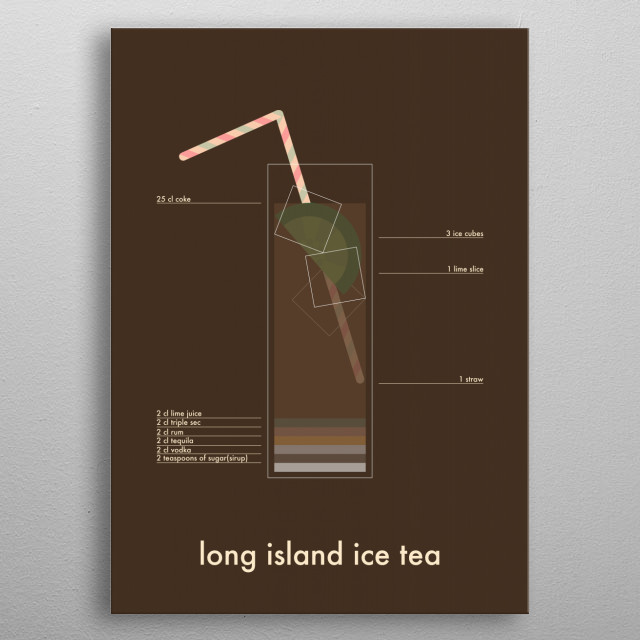 ingredients of the all time classic drink long island icetea.  metal poster
