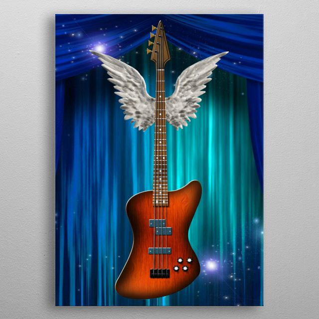 Base guitar with wings metal poster