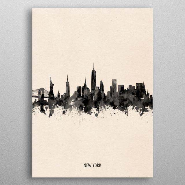 New York skyline inspired by decorative,vintage,minimal,black and white,pop art design metal poster