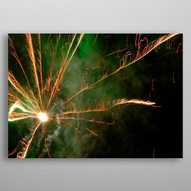 Hot, golden firework exploding into the night sky. metal poster