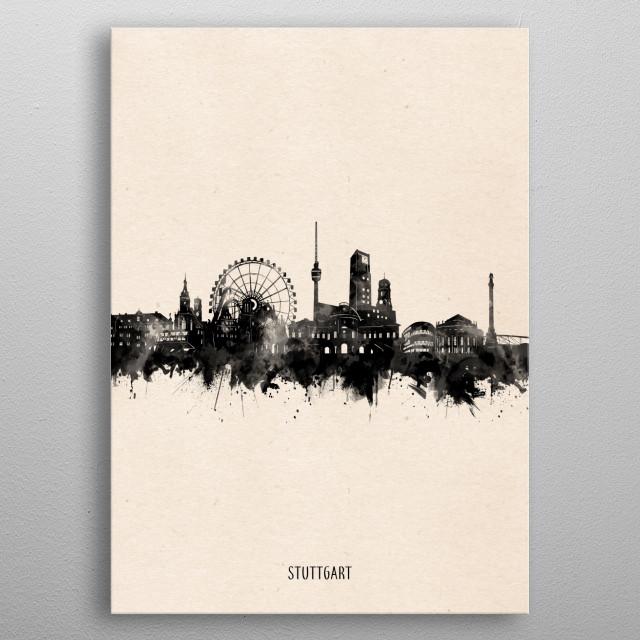 Stuttgart skyline inspired by decorative,vintage,minimal,black and white,pop art design metal poster