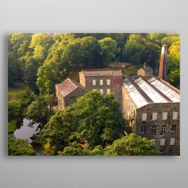Looking down over Torr Vale Mill in The Torrs at New Mills in Derbyshire, a former cotton mill. metal poster