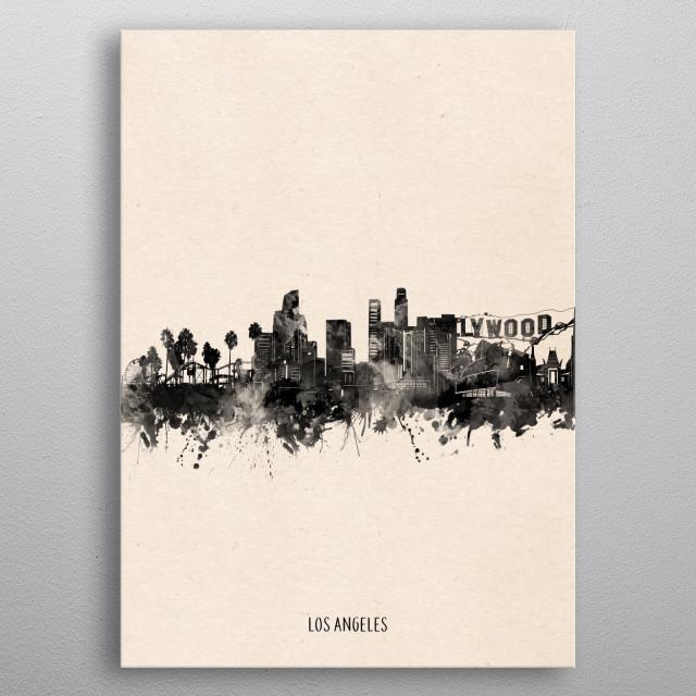 Los Angeles skyline inspired by decorative,minimal,vintage,black and white,pop art design metal poster