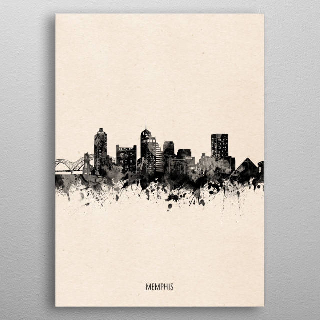Memphis skyline inspired by decorative,vintage,minimal,black and white,pop art design metal poster