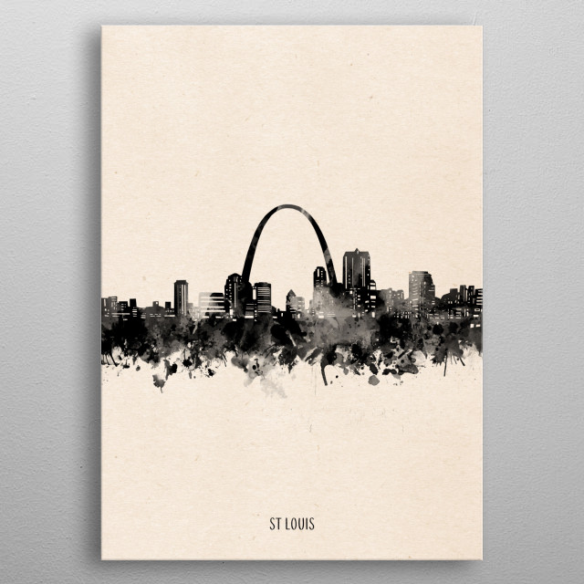 St Louis skyline inspired by decorative,vintage,minimal,black and white,pop art design metal poster
