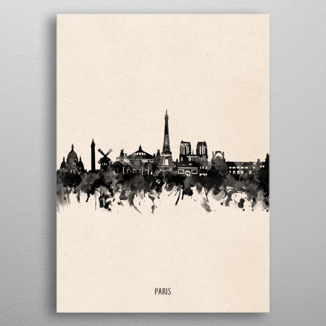 Paris skyline inspired by decorative,vintage,minimal,black and white,pop art design metal poster