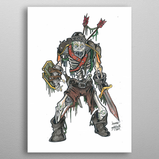 Zombie Pirate. Completely hand draw and coloured,  in pen and watercolour.  metal poster
