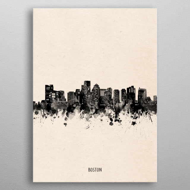 Boston skyline inspired by decorative,minimal,vintage,black and white,pop art design metal poster