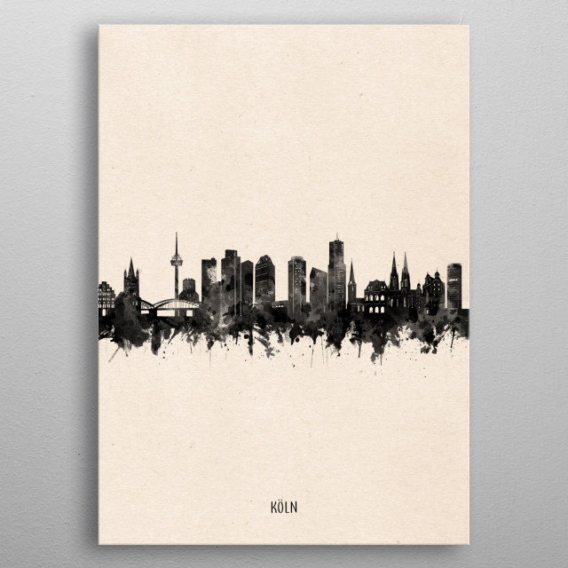 Cologne skyline inspired by decorative,minimal,vintage,black and white,pop art design metal poster