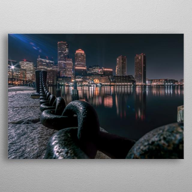 Boston harbor metal poster
