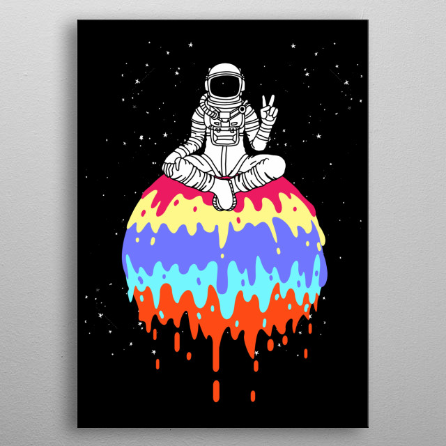 Astronaut and Space Shuttles - the perfect combination for people who love astronauts and the space. A perfect gift for kids and kid's room metal poster