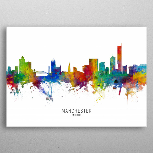 Watercolor art print of the skyline of Manchester, England, United Kingdom metal poster