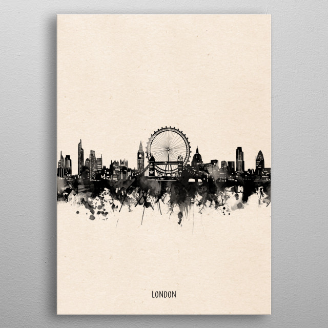 London skyline inspired by decorative,minimal,vintage,black and white,pop art design metal poster