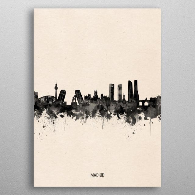 Madrid skyline inspired by decorative,minimal,vintage,black and white,pop art design metal poster
