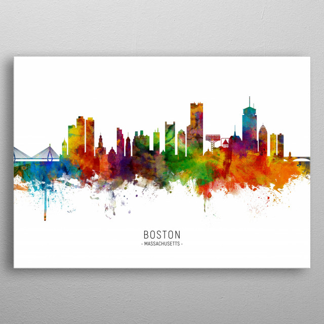 Watercolor art print of the skyline of Boston, Massachusetts, United States metal poster