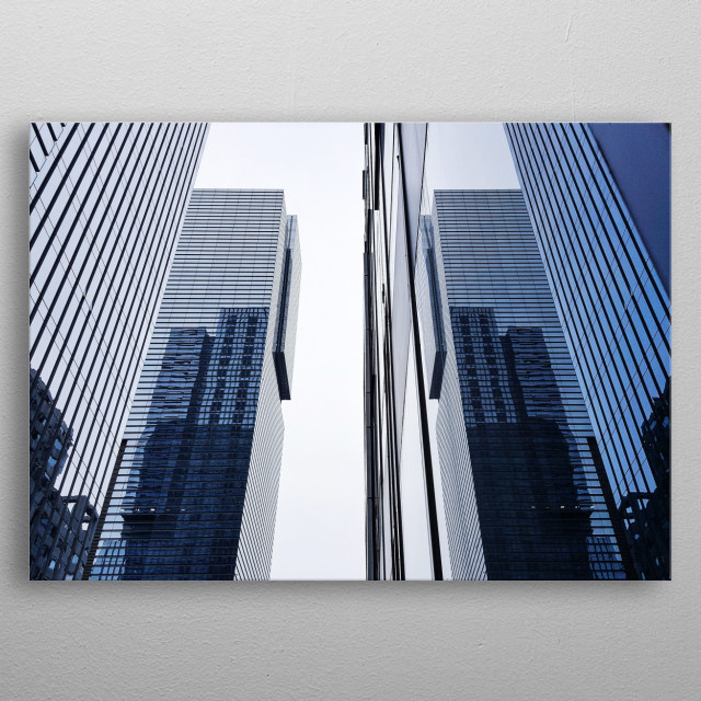 Multiple skyscrapers in Seoul, South Korea. The buildings are located in Gangnam and they reflect on each other with a cool mirror effect.  metal poster