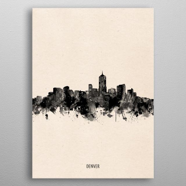 Denver skyline inspired by decorative,minimal,vintage,black and white,pop art design metal poster
