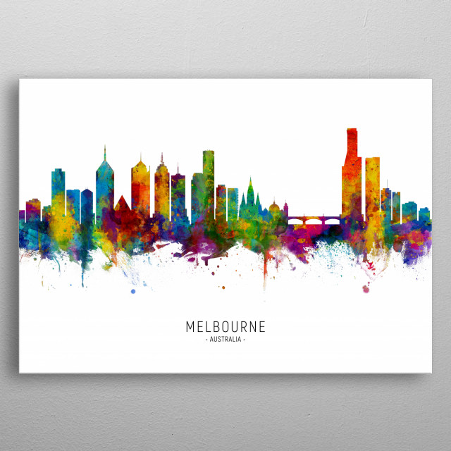 Watercolor art print of the skyline of Melbourne, Australia metal poster