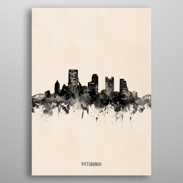 Pittsburgh skyline inspired by decorative,vintage,minimal,black and white,pop art design metal poster