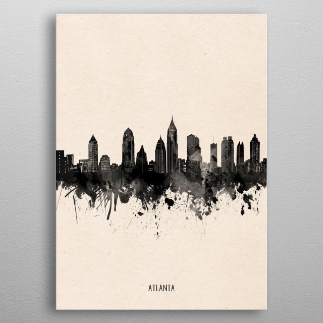 Atlanta skyline inspired by decorative,minimal,vintage,black and white,pop art design metal poster