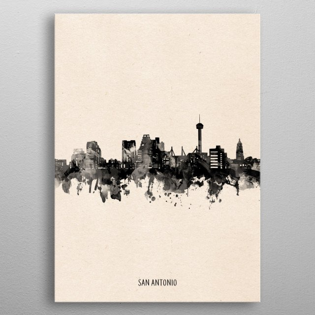 San Antonio skyline inspired by decorative,vintage,minimal,black and white,pop art design metal poster