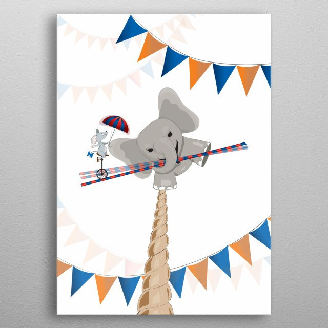 Digital vector illustration of a small elephant playing with his mouse friend, the elephant is on a tightrope and his friend makes balance i metal poster