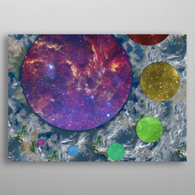 An awkward reversed world where space looks like Earth and the planets look like the cosmos in several different tints. metal poster