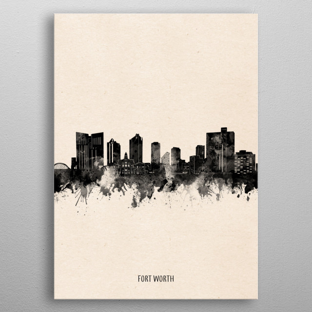 Fort Worth skyline inspired by decorative,minimal,vintage,black and white,pop art design metal poster