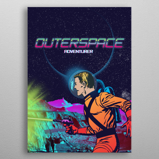 retro inspired 80's comic style astronaut with title outerspace adventurer.  metal poster