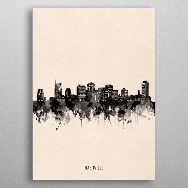 Nashville skyline inspired by decorative,vintage,minimal,black and white,pop art design metal poster