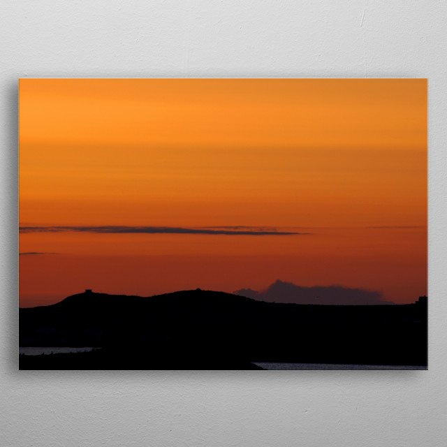 Gorgeous summer sunset over the Irish Sea, photo taken on the beach at Rhosneigr, Anglesey, North Wales. metal poster